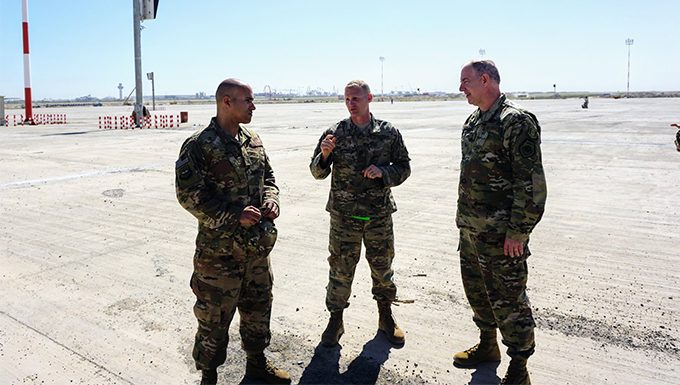 U.S. Air Force Expeditionary Center command team meet with 521st Air Mobility Operations Wing Airmen