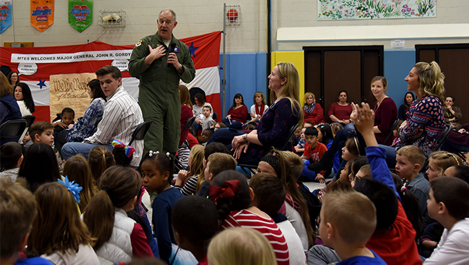 U.S. Air Force Expeditionary Center commander shares stories with Manchester Township Elementary School students